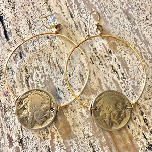 Jewelry - Gorgeous Indian coin earrings. Silver and Gold